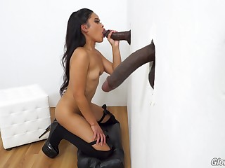 Glory hole pussy and blowjob not far from Asian Violet Rae