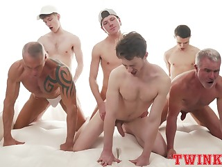 Hunky group of young gay boys delights helter-skelter a daring anal orgy