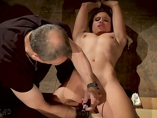 Predestined up slave made to orgasm in bondage sex