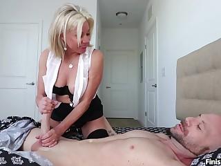 Elegant handjob by be passed on mature aunt